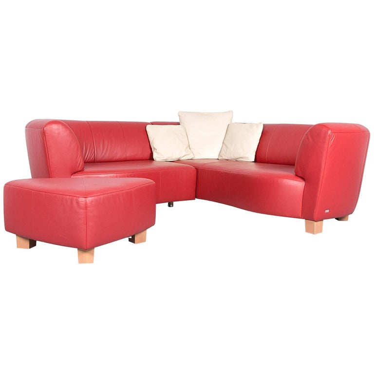Rolf Benz Basix Designer Corner Sofa Set Red Leather Couch