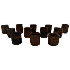 Gutte Eriksen, Own Workshop, 12 Ceramic Cups, 1950s