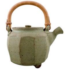 Gutte Eriksen Own Workshop, Tea Pot in Ceramics, Handle in Wicker