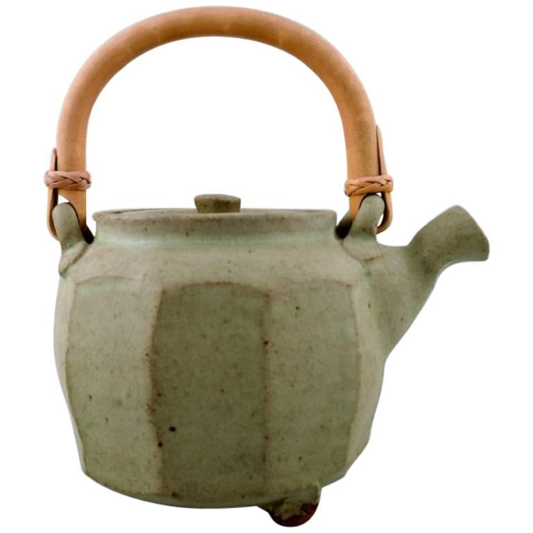 Danish ceramist, Tea Pot in Ceramics, Handle in Wicker