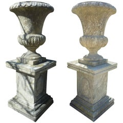 Pair of Large French Limestone Medicis Vases with their Pedestals, Provence