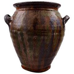 Gutte Eriksen, Own Workshop Pottery Vase with Handles, Denmark, Mid-20th Century