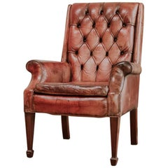 19th Century Read Leather Buttoned Armchair with Its Original Cushion