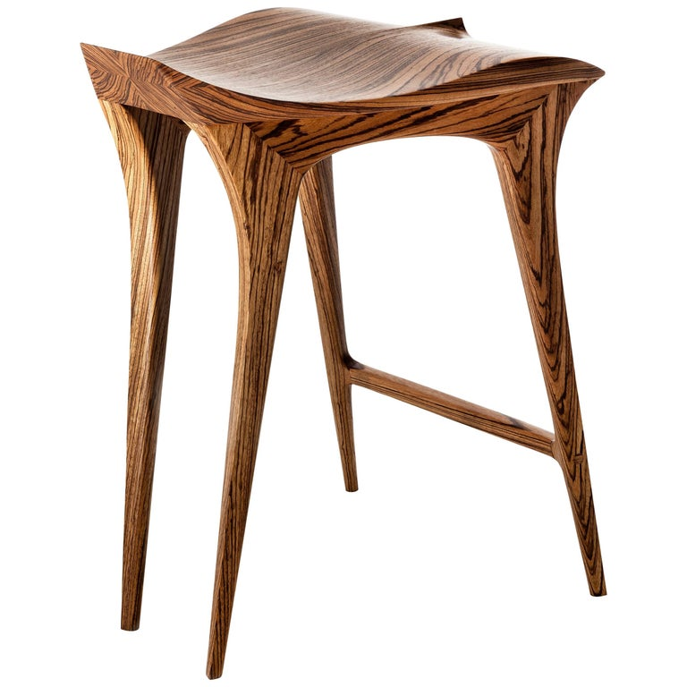 Brazilian Contemporary Stool, Solid Wood For Sale
