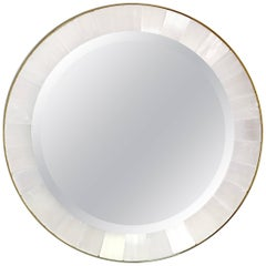 Gypse or Selenite and Brass Art Deco Style Round Wall Mirror