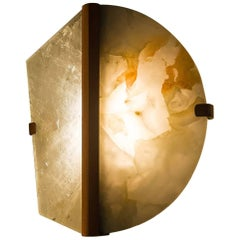 """Twobe"" Wall Lamp in Copper, Rock Crystal, Onyx Stone, Handmade in Tuscany Italy"