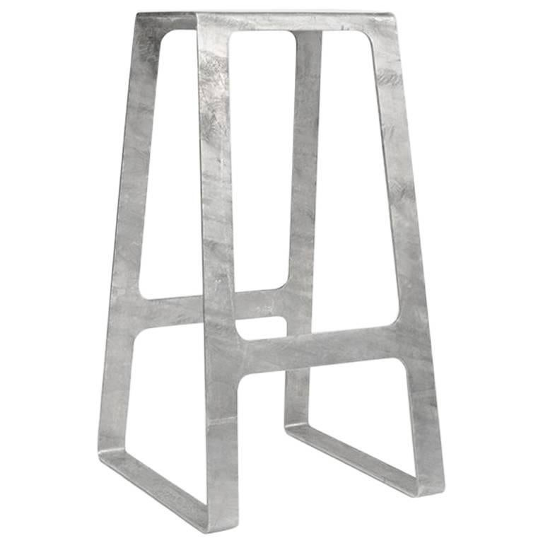 A_Stool in Galvanized Steel Bar Height Stool prototype by Jonathan Nesci For Sale