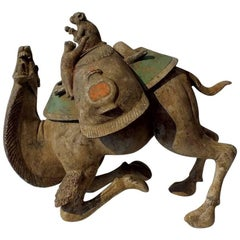Exceptional Painted Pottery Figural Group of a Bactrian Camel