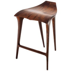 Brazilian Contemporary Stool, Solid Wood
