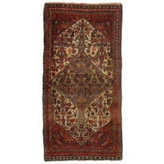 Antique Hamadan Runner with Central Medallion and Corner Design