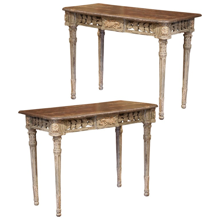 Pair of French Louis XVI Carved Polychrome Painted Four-Leg Consoles Tables  For Sale