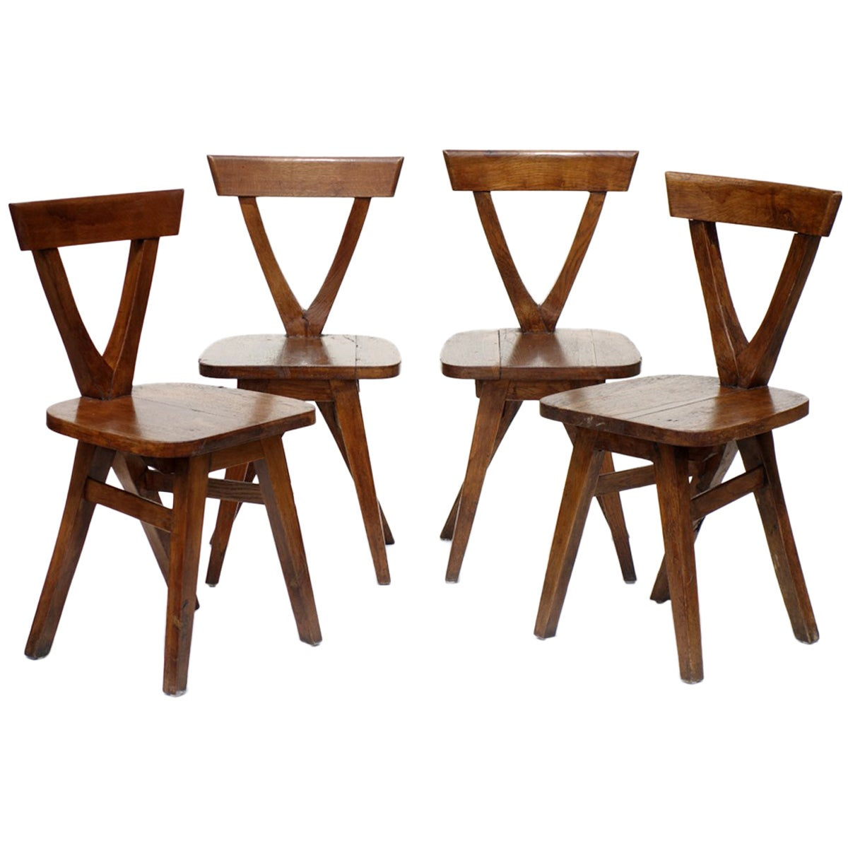Folk Art Early 20th Century Wood Rustic Four Chairs