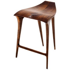 Hardwood Stool, Handmade in Ergonomic Brazilian Contemporary Design