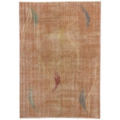 Distressed Turkish Sivas Rug with Industrial Art Deco Style Zeki Muren