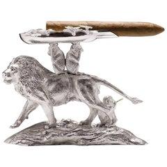 Lion and Monkey Silver Ashtray