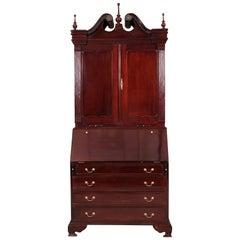 Mahogany Secretary Bookcase Cabinet with Broken Bonnet Top