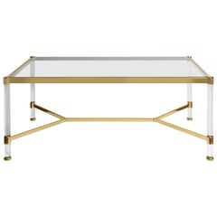 Mid-Century Modern Lucite and Brass Coffee Table