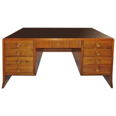 """Paolo Buffa"" Important Desk in Walnut, 1940, Top in Black Opal"