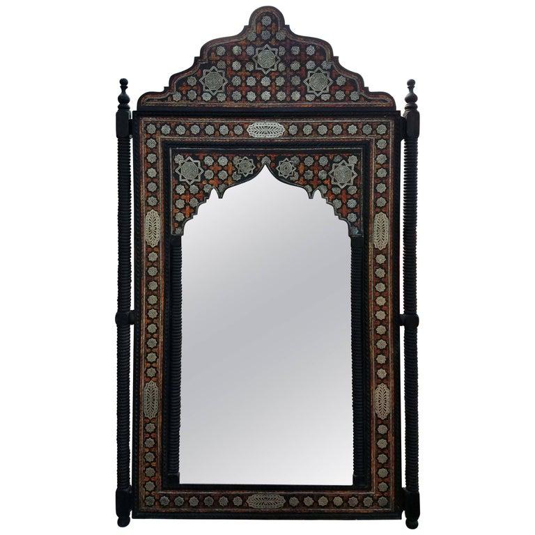 Moroccan M Mirror, Framed with Orange Dye Camel Bone For Sale at 1stdibs