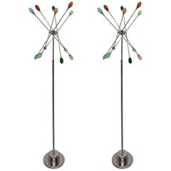Pair of Mid-Century Modern Chrome Sputnik Floor Lamps