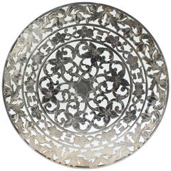 Large American Sterling Silver Overlay Glass Trivet by Webster