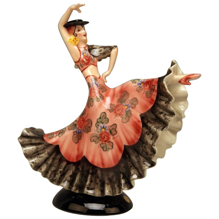 Keramos Spanish Lady Dancer Art Deco Model 1400 by Stefan Dakon Made circa 1930