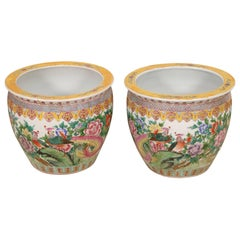Pair of Large Antique Famille Rose Porcelain Jardinieres