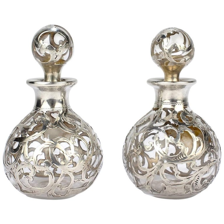 Pair of Antique Alvin American Sterling Silver Overlay Glass Perfume Bottles