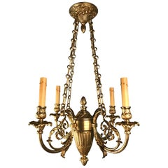 Belle Epoque Louis XV Style Bronze Four-Light Chandelier