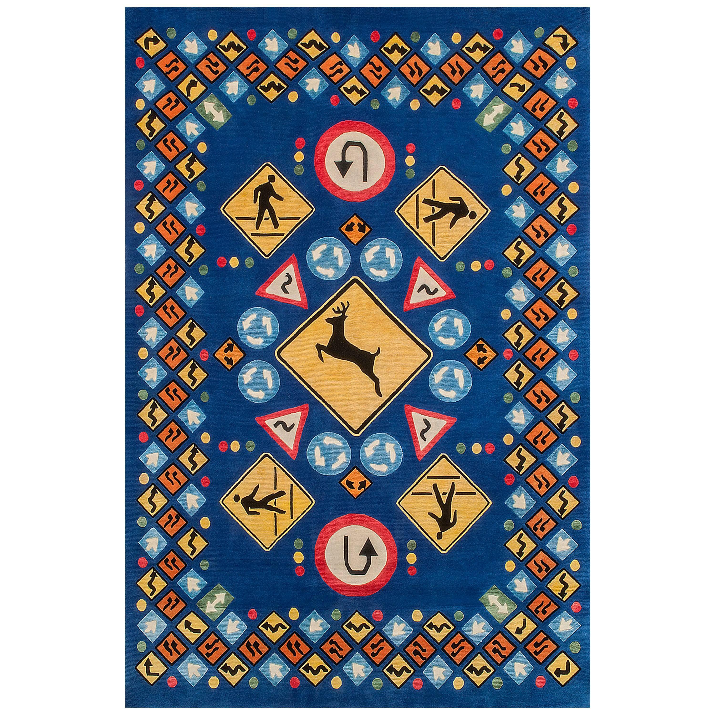 "Tibetan Knot Silk Rug, ""Roadsigns"" by Lance Wyman"