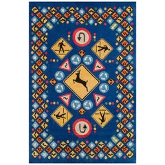 "Premium New Zealand Silk Rug ""Roadsigns"" by Lance Wyman"