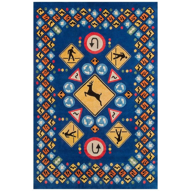 "Tibetan Knot Silk Rug, ""Roadsigns"" by Lance Wyman For Sale"
