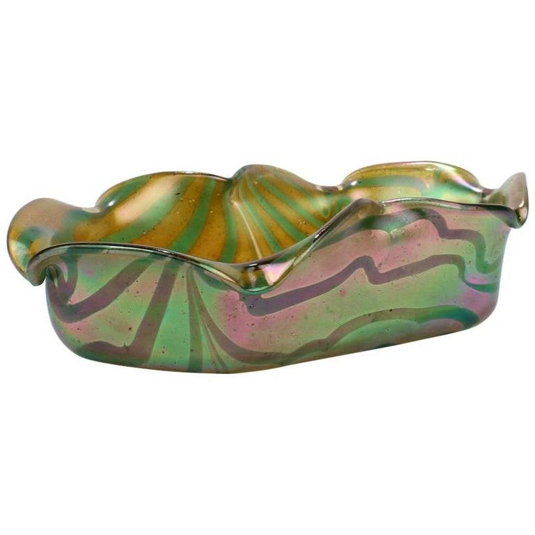 Antique Art Nouveau Kralik Glassworks Loetz Type Aqua on Gold Art Glass Bowl