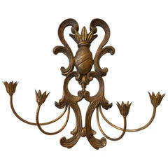 19th Century Italian Florentine Crest Motif Candlestick Wall Sconce