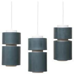 Set of Three Teal Enameled Metal Pendant Ceiling Lamps