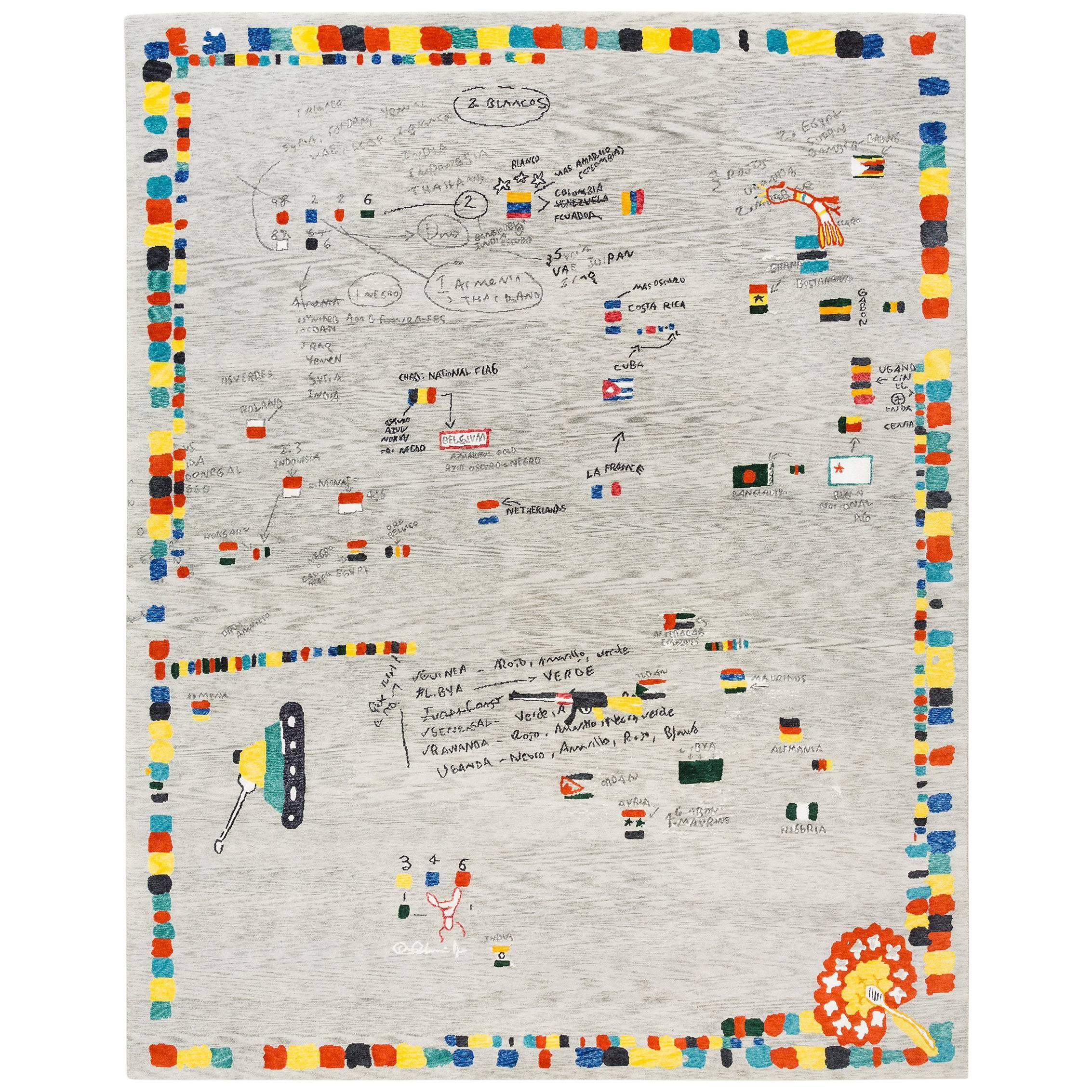 """Tibetan Knot Art Rug, Limited Edition """"Republica de Las Banderas Galacticas"""""""