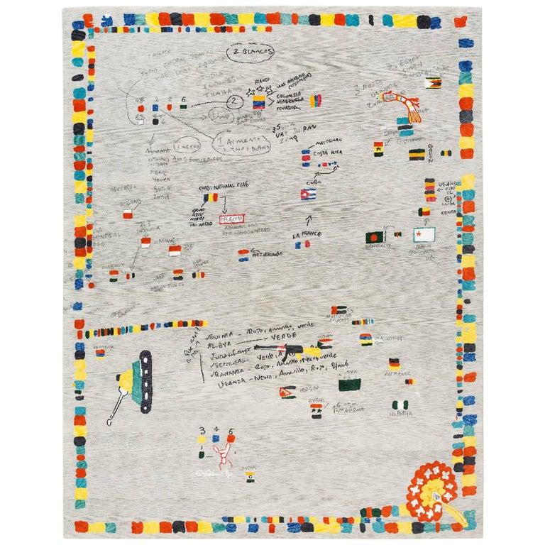 """Tibetan Knot Art Rug, Limited Edition """"Republica de Las Banderas Galacticas"""" For Sale"""