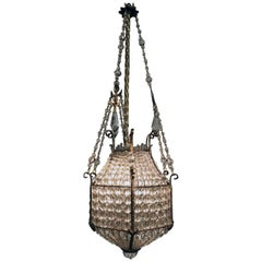 Antique Louis XVI Style Beaded Crystal Lantern Fixture