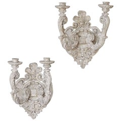 Pair of Vintage French Regency Style Two-Arm Painted Sconces, circa 1950