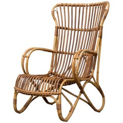 Midcentury High Back Bamboo Lounge Chair