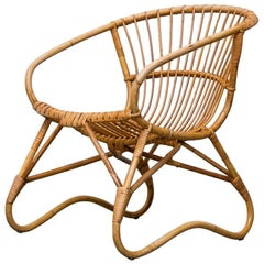 1950s Bamboo Lounge Chair with Original Cushion