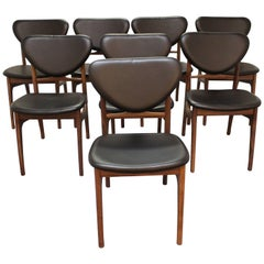 Set of Eight Danish Modern Vodder Style Walnut Floating Seat Dining Chairs