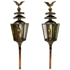 Pair of 19th Century English Brass and Copper Carriage Lanterns