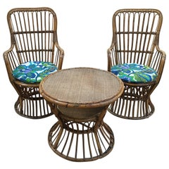 Italian Bamboo and Rattan Living Room Set from 1950s