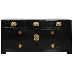 Chinese Gilt-Metal Mounted Black Lacquer Cabinet, circa 1930s