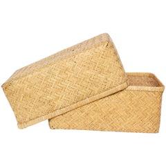 20th Century Japanese Lidded Kimono Basket 'Shibui'