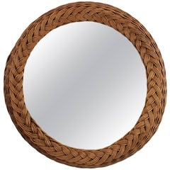 Large Woven Wicker Round Braided Mirror, Spain, 1940s