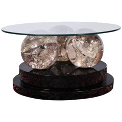 Moderrn Round Lucite and Lacquer Coffee Table