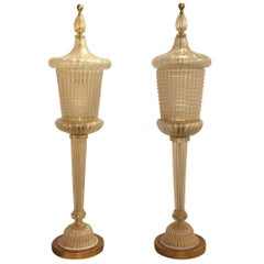 20th Century Pair of Barovier & Toso Lamps
