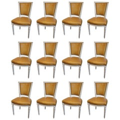 12 Louis XVI Style French Dining Chairs in Original Paint and Leather